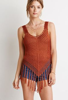 Contemporary Fringed Open-Knit Top