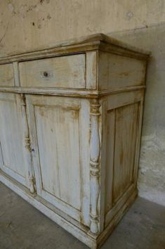 A Century 3 door painted cabinet with a nice vintage patina. Diy Dressers, Primitive Cabinets, Urban Loft, Room Color Schemes, Chalk Painting, Antique Paint, Elements Of Design, Hand Painted Furniture, Painted Doors
