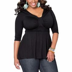 Women Summer Casual Sexy V Neck Half Sleeve Tops Ladies Elegant Slim Solid Oversized Blouse Shirts Blusas Plus Size - Blue, L Just look, that`s outstanding! Visit our store Curvy Fashion, Plus Size Fashion, Womens Fashion, Ladies Fashion, Style Fashion, Fashion Usa, Fashion Tips, Fashion Trends, Plus Size Blouses