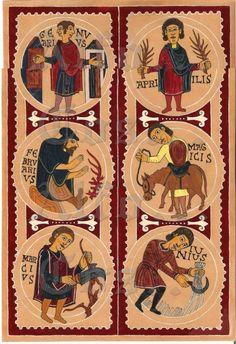 Calendario agrícola de la Basilica de San Isidoro de Leon (enero-junio)