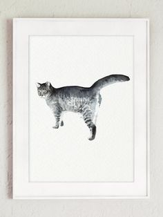 Cat Minimalist Painting Giclee Art Print Gray by ColorWatercolor