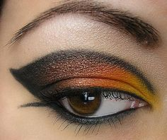 Orange & Black Winged Look Closeup