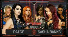Paige w/Charlotte & Becky Lynch vs Sasha Banks W/ Naomi & Tamina Snuka Winner is: Sasha Banks