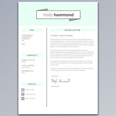 Resume Template CV Template Cover Letter by introDuice on Etsy