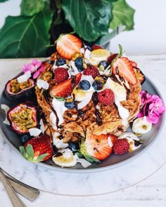 rawganic_: The recipe for these mouthwatering waffles is now on the blog link in bio ✨✨( #glutenfree & #vegan of course)