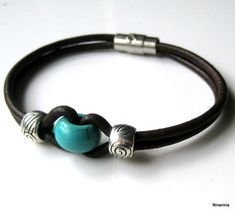 Bracelets - Men's Leather and Turquoise Bead Bracelet Men's Jewelry . Trend Bracelets - Men's Leather and Turquoise Bead Bracelet Men's Jewelry . Leather Cord Bracelets, Leather Jewelry, Silver Bracelets, Bracelets For Men, Handmade Bracelets, Wire Jewelry, Jewelry Crafts, Beaded Jewelry, Jewelry Bracelets