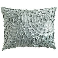 Metallic Swirls Pillow - Smoke Blue  There's something really interesting about the pattern and texture.