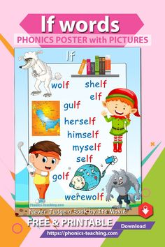 lf words- This phonics lesson for kids is the perfect addition to your phonics instruction. The cute graphics & playful colors ensure your students will love them. Phonics Blends, Phonics Rules, Phonics Lessons, Phonics Words, Teaching Phonics, Phonics Worksheets, Phonics Activities, Teaching Kindergarten, Teaching Reading