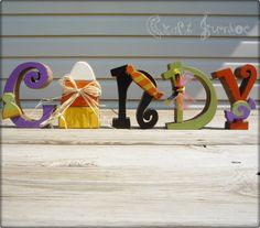 Wooden Halloween CANDY letter set decoration