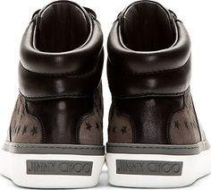 Jimmy Choo: Grey Glitter Stars Belgravi High-Top Sneakers