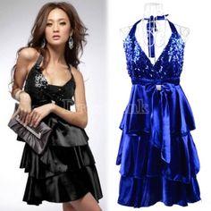 Elegant Women's Sequins Sexy Strap Backless Clubwear Mini Dress