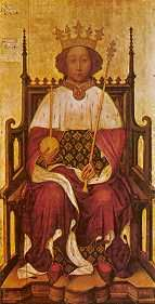 King Richard II (1377-1399) House of Plantagenet. 16th great-granduncle to our Queen. Reign was 22 yrs, 7 mos, 23 days Reigned in conflict with Parliament; they executed some of his associates in 1388, and he executed some of the opposing barons in 1397. He was deposed by Parliament and imprisoned in Pontefract Castle, where he was probably murdered and was succeeded by cousin, Henry IV.