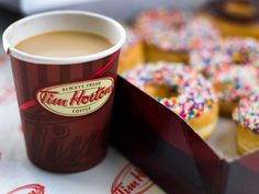 is a picture that represents the company Tim Hortons which is a Canadian fast food restaurant. Tim Hortons is well known for their coffee and donuts. 24 Hour Coffee Shop, Tim Hortons Canada, Starbucks, Tim Hortons Coffee, Coffee And Donuts, Canadian Men, Thing 1, Fresh Coffee, Coffee Branding
