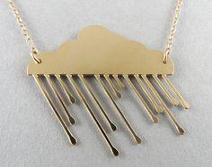gold cloud rainy cloud necklace cloud by BonnyRabbitBoutique