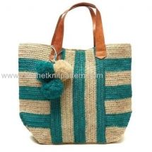 Crochet Tote Bag no pattern, but I like the stripes, leather handles,and this is cotton lined. Free Crochet Bag, Crochet Tote, Crochet Handbags, Crochet Purses, Love Crochet, Knit Crochet, Purse Patterns, Knitting Patterns, Crochet Patterns