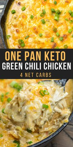 This easy One Pan Keto Green Chili Chicken is the ultimate cheesy low carb casserole! At under 4 net carbs per serving this will be a weekly staple on your keto diet! recipes dinner chicken One Pan Keto Green Chili Chicken Ketogenic Recipes, Low Carb Recipes, Diet Recipes, Healthy Recipes, Dessert Recipes, Crockpot Recipes, Easter Recipes, Low Carb Chicken Recipes, Soup Recipes