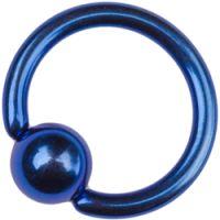 Titanium Dark Blue Ball Closure Rings