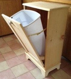Wood Trash Can Recycling Bin Storage Bin Solid Pine Garbage Can