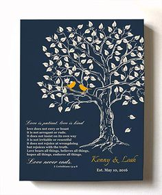 MuralMax - Personalized Anniversary Family Tree Artwork - Love is Patient Love is Kind Bible Verse - Unique Wedding & Housewarming Canvas Wall Decor Gifts - Color Navy # 4 - Size Personalised Family Tree, Personalized Wall Art, Personalized Wedding Gifts, Anniversary Gifts For Couples, Wedding Gifts For Couples, 1st Anniversary, Custom Canvas Prints, Wall Art Prints, Tree Artwork