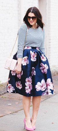 Modest knee length floral print midi below knee skirt | Shop Mode-sty – Mode-sty