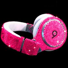 Beats by Dr Dre Pink Bling Headphones. Pink Love, Pretty In Pink, Hot Pink, Cute Headphones, Beats Headphones, Crown Headphones, Gaming Headphones, Sports Headphones, Pink Sparkly