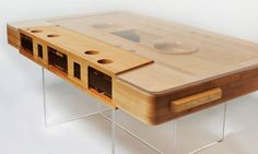 Wooden cassette in a plexi table montage