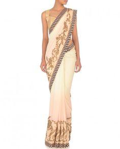 Cream & Blush Sari with Zari Work- Buy Saris,JJ Valaya Online | Exclusively.in