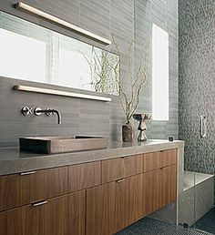Beautiful contemporary bathroom with Ann Sacks tile