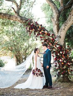 15 Budget Friendly Wedding Backdrops and Arches with Trees for Outdoor Weddings - Oh Best Day Ever outdoor fall wedding arch ideas. Wedding Ceremony Ideas, Fall Wedding Arches, Fall Wedding Flowers, Tree Wedding, Outdoor Ceremony, Ceremony Arch, Outdoor Weddings, Wedding Backdrops, Floral Wedding
