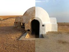 Luke Skywalkers home was a real house in Tunisia.  It was falling into disrepair, but was recently renovated and turned into a hotel.  Now Star Wars fans can live like Luke :-)