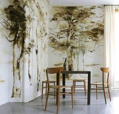 Hi Friends! I wanted to introduce someone with you whose work I am truly obsessed with. Her name is Claire Basler. A French floral painter, she resides at Chateau de Beauvoir, a century castle in France which is art in itself. Her interpretation of. Claire Basler, Natural Wood Furniture, Grisaille, Tree Wallpaper, French Artists, Interior Walls, House Colors, Home Art, Decoration