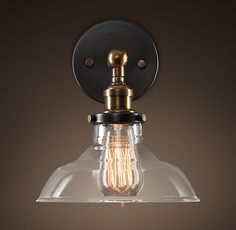 Hallway Lighting: Glass Barn Filament Sconce Aged Steel