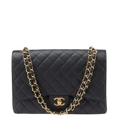 Pre-owned Chanel Maxi Classic Quilted Leather Flap Shoulder Bag found on Polyvore