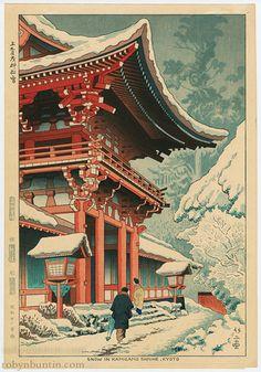 Snow in Kamigamo Shrine by Asano, Takeji 浅野 竹二 (Japanese Print)