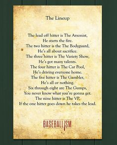 For all my softball/baseball peeps, coaches, players, fans, and those that don't quite get the game.UNDERSTANDING THE LINEUP! Baseball Crafts, Baseball Boys, Baseball Party, Baseball Season, Baseball Games, Baseball Stuff, Baseball Lineup, Football, Baseball 2016
