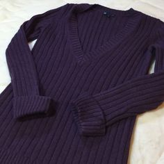 """Gap V-Neck Sweater Purple sweater with cuffed sleeves. Bust is 17"""", length is 25"""", sleeve length is approx 22"""". V neck is approx 10"""". 45% acrylic 45% nylon and 10% angora rabbit hair. GAP Sweaters V-Necks"""