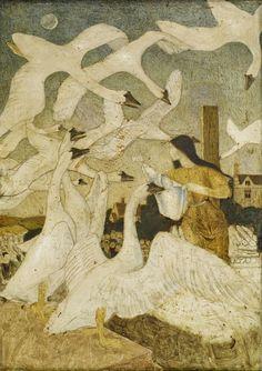 "Arthur Joseph Gaskin ""The Wild Swans"" 1928 PEACOCK'S GARDEN"