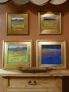 An artist's entryway. Cris Fulton dream landscapes in watercolor.
