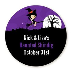 Trendy Witch - Personalized Round Halloween Sticker Labels - Available in 8 Different Sizes - Custom Design Halloween Bingo, Halloween Countdown, Halloween Party Favors, Halloween Stickers, Family Halloween, Halloween Gifts, Boy Party Favors, Personalized Party Favors, Personalized Stickers