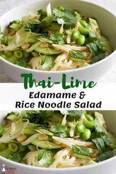 Getting kids to eat salad isn't always easy. Thai-Lime Edamame & Rice Noodle Salad is a kid favorite because it's so fun to eat! Serve this salad as a main course or as an accompaniment to chicken or fish. Edamame Noodles, Edamame Salad, Rice Noodles, Fish Salad, Savory Salads, Healthy Salad Recipes, Vegetarian Recipes, Vegetarian Kids, Perfect Salad Recipe