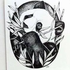 ca me bo ri beb Tattoo Gato, Cat Tattoo, Funny Animal Faces, Bicycle Tattoo, Panda Drawing, Stippling Art, Panda Art, Art Drawings Beautiful, Panda Love