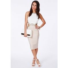 PATTIA CONTRAST CUT OUT EMBELLISHED MIDI DRESS IN NUDE £42.99 by Missguided