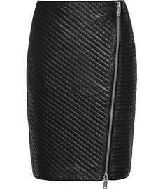 Azure Black Quilted Leather Pencil Skirt - REISS