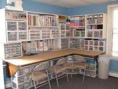 I'm pretty close to having this- this would be easy for me to do and be simple and to the point of Kt's cubicle art style --------- So jealous of this scrapbooking craft room. Look how organized! ...But those chairs! My back hurts just looking.