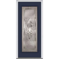Milliken Millwork 37.5 in. x 81.75 in. Heirloom Master Decorative Glass Full Lite Painted Majestic Steel Exterior Door, Naval