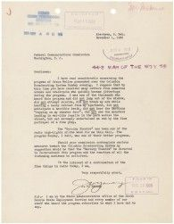 "1938: Letter regarding Orson Welles ""War of the Worlds"" broadcast"
