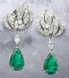 A pair of emerald and diamond pendent earclips - Gift for women and girls, wedding