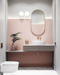 Pastel pink bathrooms, hot pink bathrooms, pink bathroom tiles, pink bathroom sets, pink basins and pink vanities. These pink bathroom ideas have it all & more. Restroom Design, Bathroom Interior Design, Salon Interior Design, Interior Livingroom, Interior Modern, Interior Paint, Kitchen Interior, Interior Ideas, Kitchen Decor