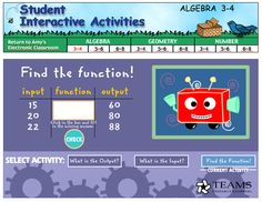 Here's a great activity with a function machine. Students can find the input, output, or function.