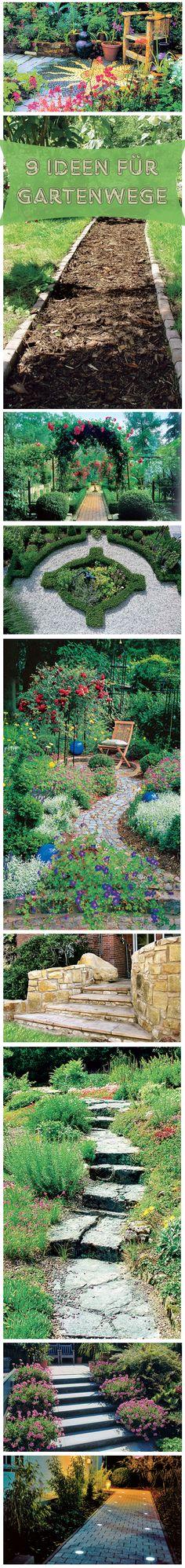 Gartenwege können so individuell sein wie die Besitzer der Gärten. Wir zeigen 9 verschiedene Ideen für Gartenwege.